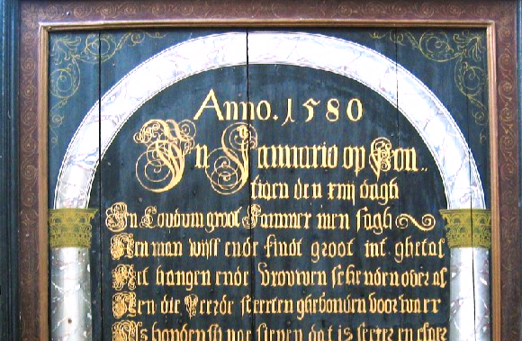 Gerestaureerd 'boerd 1580' in Martinikerk Koudum onthuld