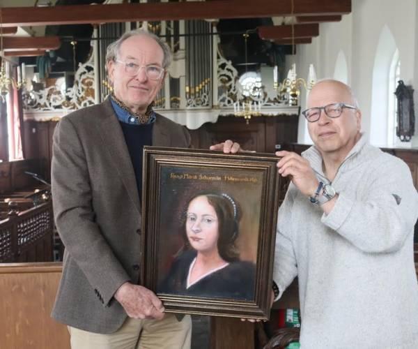 Schilderij Anna Maria van Schurman aan kerk Wiuwert geschonken